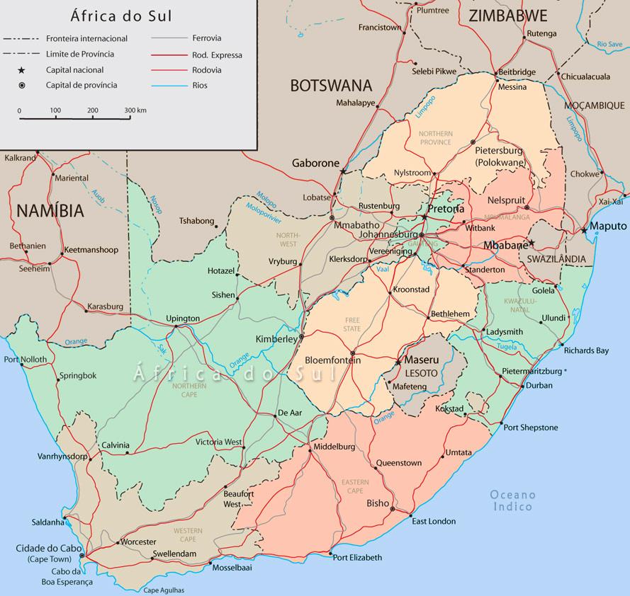 Mapa da Africa do Sul Pretoria Johannesburg Cape Town Map