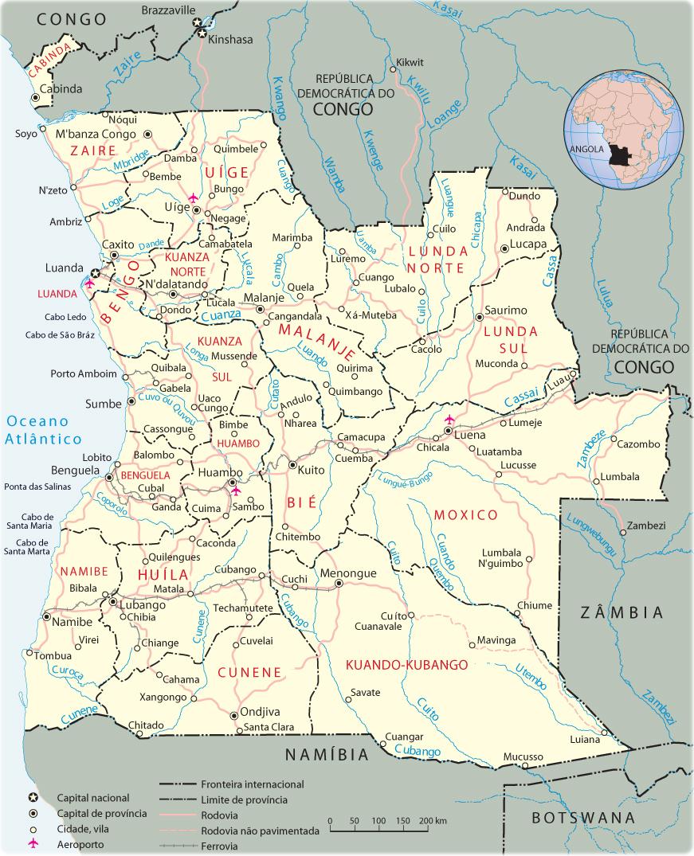 Angola Mapa, Luanda