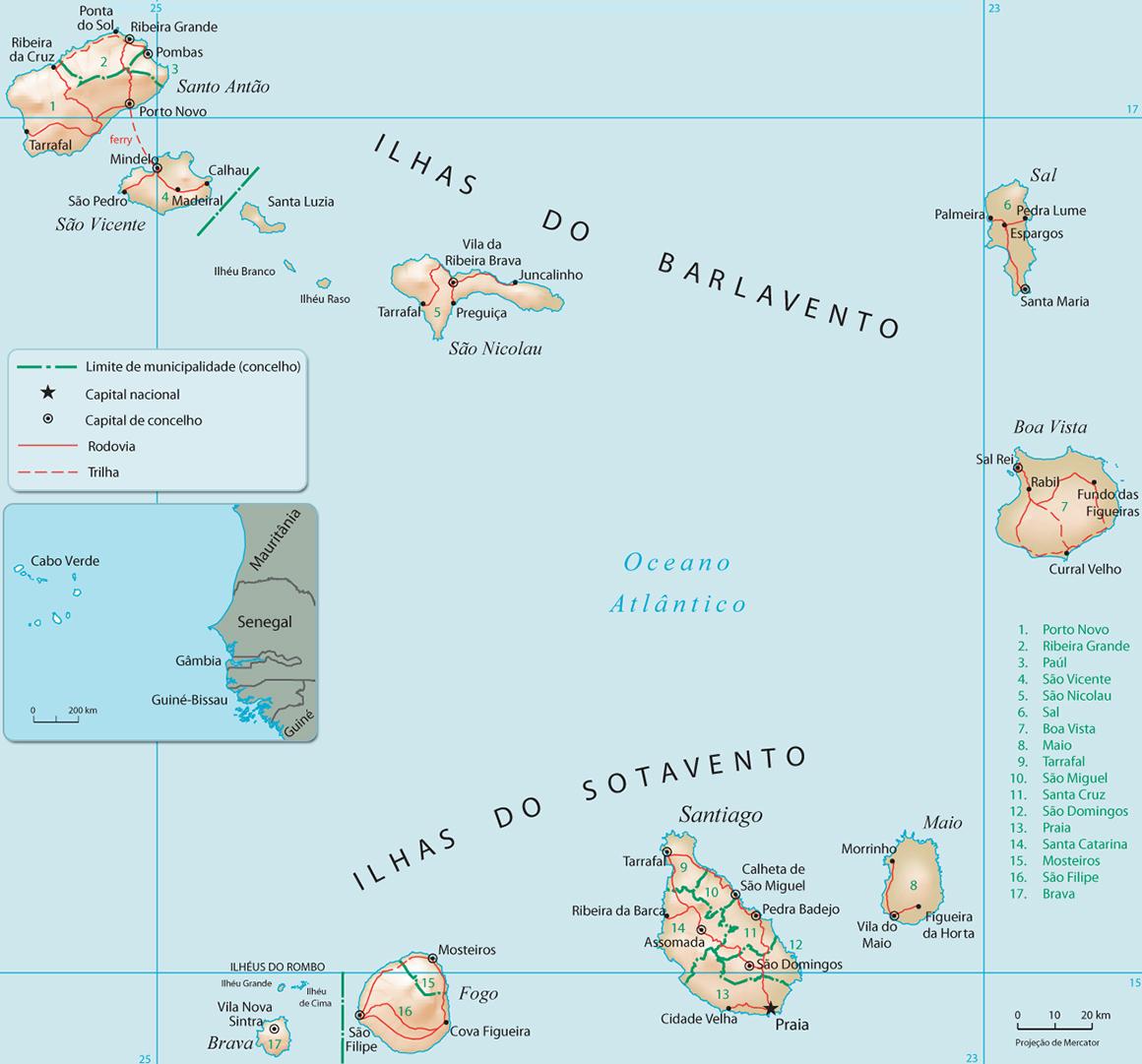 Resultado de imagem para mapa das ilhas cabo verde
