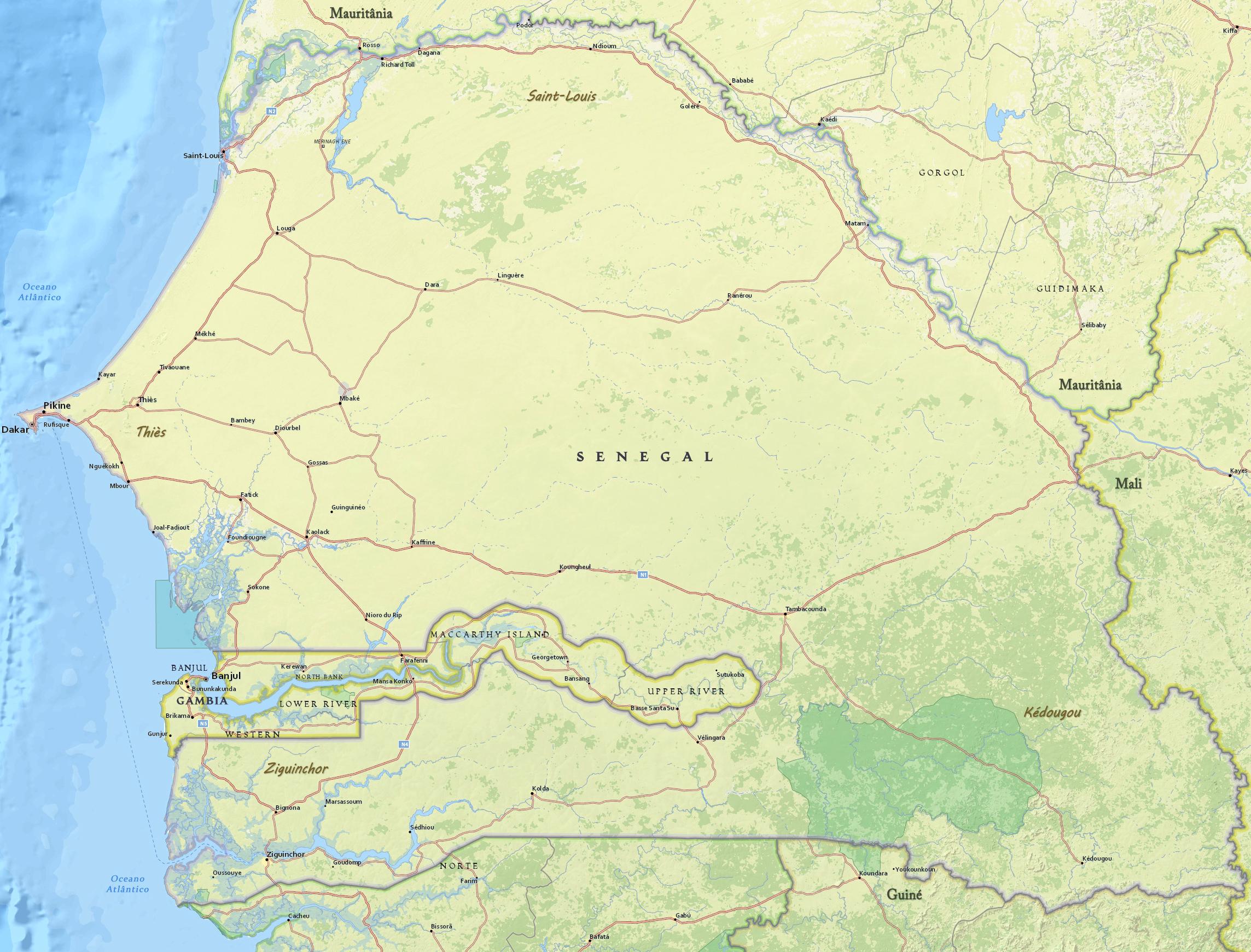 Mapa Fisico De Senegal