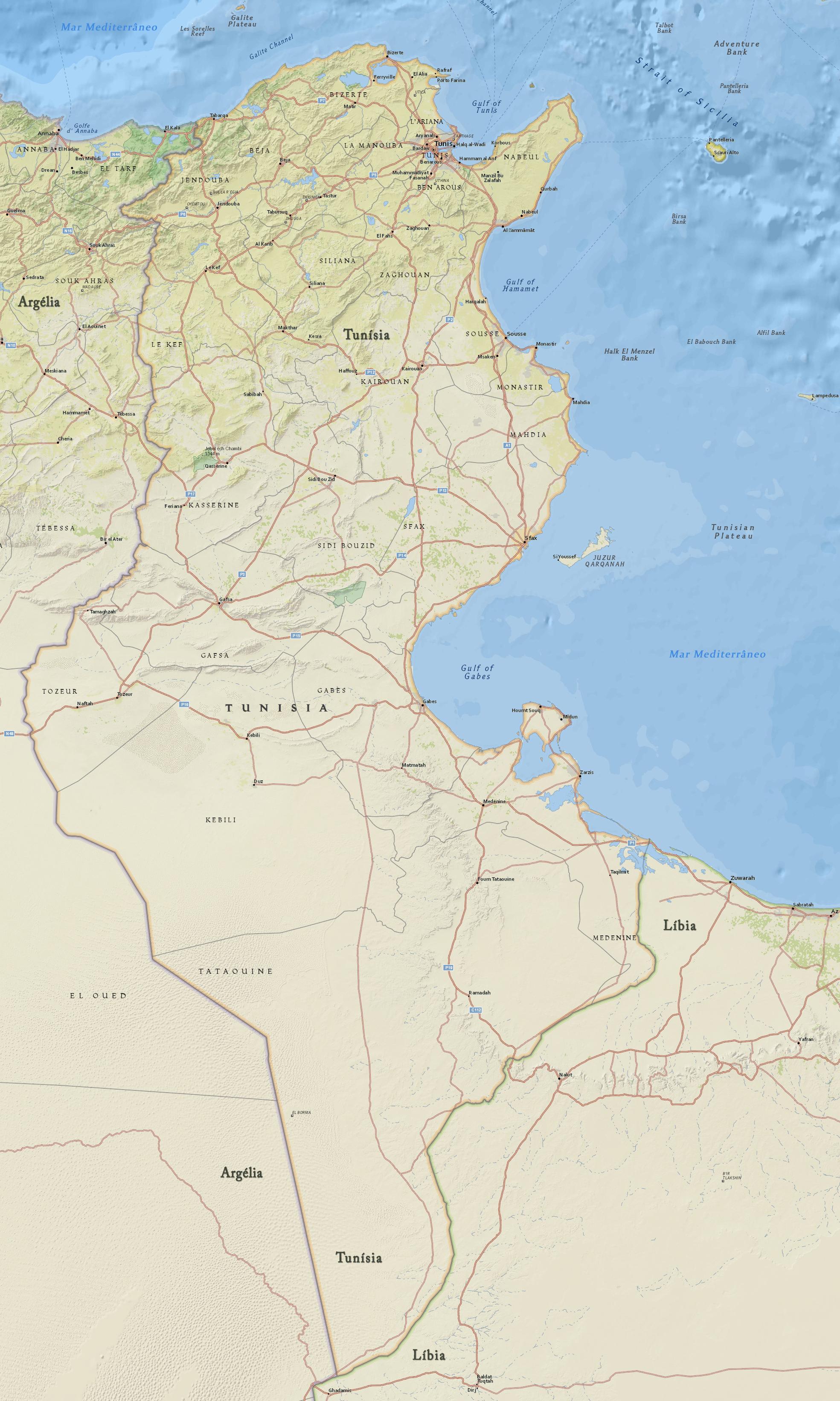 Mapa Da Tunisia Capital Tunis